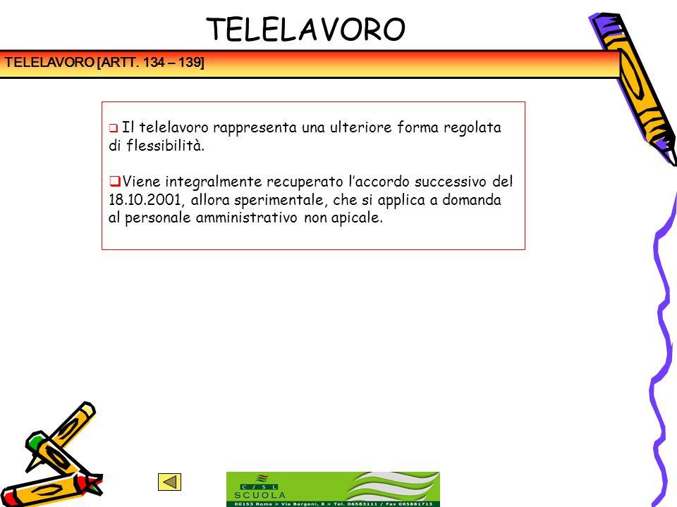 TELELAVOROTELELAVORO [ARTT. 134 – 139] Il telelavoro rappresenta una ulteriore forma regolata di flessibilità.